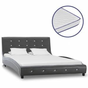 Κρεβάτι Γκρι 120x200 εκ. από Δερματίνη με Στρώμα Αφρού Μνήμης