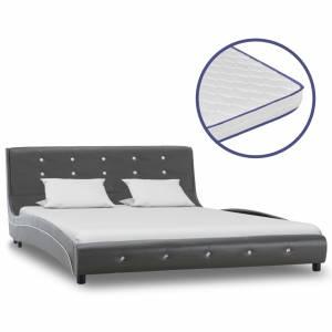 Κρεβάτι Γκρι 140 x 200 εκ. Δερματίνη με Στρώμα Αφρού Μνήμης