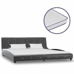 Κρεβάτι Γκρι 180x200 εκ. Συνθετικό Δέρμα με Στρώμα Αφρού Μνήμης