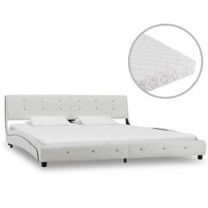 Κρεβάτι Λευκό 180 x 200 εκ. από Συνθετικό Δέρμα με Στρώμα