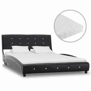 Κρεβάτι Μαύρο 120 x 200 εκ. από Συνθετικό Δέρμα με Στρώμα