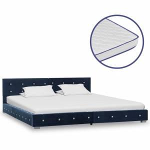Κρεβάτι Μπλε 160 x 200 εκ. Βελούδινο με Στρώμα Αφρού Μνήμης