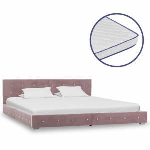Κρεβάτι Ροζ 180 x 200 εκ. Βελούδινο με Στρώμα Αφρού Μνήμης