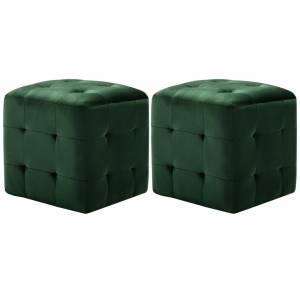 Σκαμπό Πουφ 2 τεμ. Πράσινα 30 x 30 x 30 εκ. Βελούδινο Ύφασμα