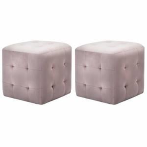 Σκαμπό Πουφ 2 τεμ. Ροζ 30 x 30 x 30 εκ. από Βελούδινο Ύφασμα
