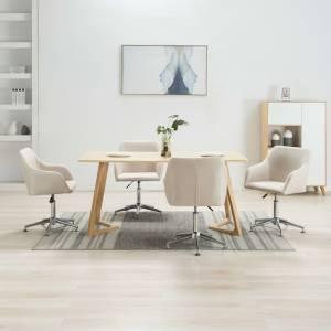 Καρέκλες Τραπεζαρίας Περιστρεφόμενες 4 τεμ. Κρεμ Υφασμάτινες