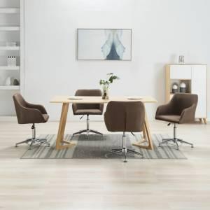 Καρέκλες Τραπεζαρίας Περιστρεφόμενες 4 τεμ. Καφέ Υφασμάτινες