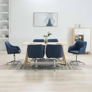 Καρέκλες Τραπεζαρίας Περιστρεφόμενες 6 τεμ. Μπλε Υφασμάτινες