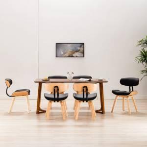 Καρέκλες Τραπεζαρίας 6 τεμ. Μαύρες Λυγισμ. Ξύλο/Συνθετικό Δέρμα