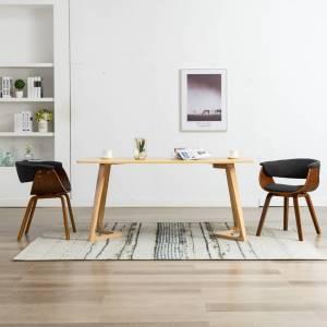Καρέκλες Τραπεζαρίας 2 τεμ. Γκρι από Λυγισμένο Ξύλο και Ύφασμα