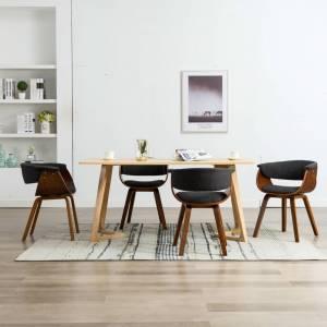 Καρέκλες Τραπεζαρίας 4 τεμ. Γκρι από Λυγισμένο Ξύλο και Ύφασμα