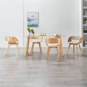 Καρέκλες Τραπεζαρίας 4 τεμ. Κρεμ Λυγισμένο Ξύλο/Συνθετικό Δέρμα