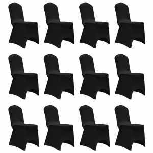 Καλύμματα Καρέκλας Ελαστικά Μαύρα 12 τεμ.