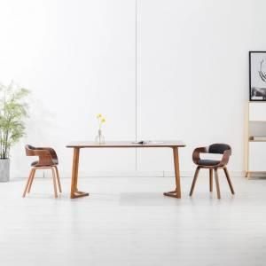 Καρέκλες Τραπεζαρίας 2 τεμ. Σκούρο Γκρι Ύφασμα/Λυγισμένο Ξύλο