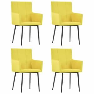 Καρέκλες Τραπεζαρίας με Μπράτσα 4 τεμ. Κίτρινες Υφασμάτινες
