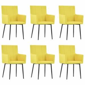 Καρέκλες Τραπεζαρίας με Μπράτσα 6 τεμ. Κίτρινες Υφασμάτινες