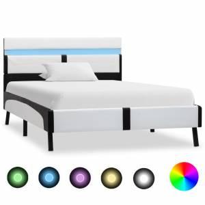 Πλαίσιο Κρεβατιού με LED Ασπρόμαυρο 90x200 εκ. Συνθετικό Δέρμα