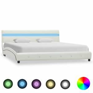 Πλαίσιο Κρεβατιού με LED Λευκό 180x200 εκ. από Συνθετικό Δέρμα
