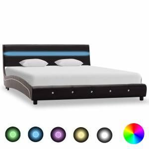 Πλαίσιο Κρεβατιού με LED Μαύρο 120x200 εκ. από Συνθετικό Δέρμα