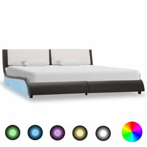 Πλαίσιο Κρεβατιού με LED Γκρι/Λευκό 180x200 εκ. Συνθετικό Δέρμα