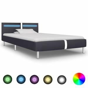 Πλαίσιο Κρεβατιού με LED Μαύρο 90x200 εκ. από Συνθετικό Δέρμα