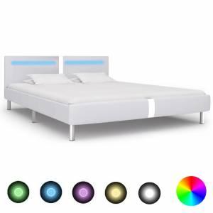 Πλαίσιο Κρεβατιού με LED Λευκό 160x200 εκ. από Συνθετικό Δέρμα