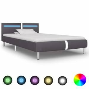 Πλαίσιο Κρεβατιού με LED Γκρι 90x200 εκ. από Συνθετικό Δέρμα