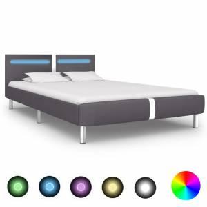 Πλαίσιο Κρεβατιού με LED Γκρι 120x200 εκ. από Συνθετικό Δέρμα