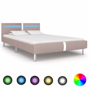 Πλαίσιο Κρεβατιού με LED Καπουτσίνο 120x200 εκ. Συνθετικό Δέρμα