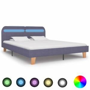 Πλαίσιο Κρεβατιού με LED Ανοιχτό Γκρι 160 x 200 εκ. Υφασμάτινο