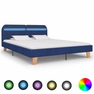Πλαίσιο Κρεβατιού με LED Μπλε 160 x 200 εκ. Υφασμάτινο