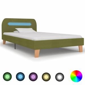 Πλαίσιο Κρεβατιού με LED Πράσινο 90 x 200 εκ. Υφασμάτινο