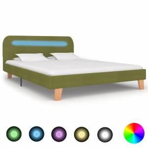 Πλαίσιο Κρεβατιού με LED Πράσινο 140 x 200 εκ. Υφασμάτινο