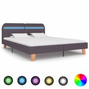 Πλαίσιο Κρεβατιού με LED Χρώμα Taupe 180 x 200 εκ. Υφασμάτινο