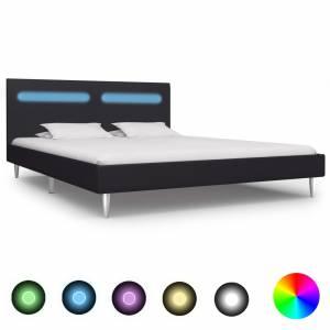 Πλαίσιο Κρεβατιού με LED Μαύρο 180 x 200 εκ. Υφασμάτινο