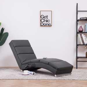 Πολυθρόνα/Ανάκλιντρο Μασάζ Γκρι από Συνθετικό Δέρμα