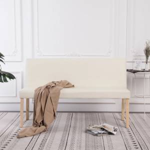 Παγκάκι Κρεμ 139,5 εκ. από Συνθετικό Δέρμα