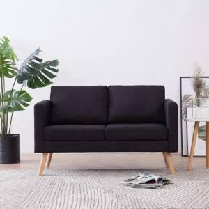 Καναπές Διθέσιος Μαύρος Υφασμάτινος