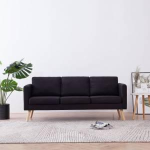 Καναπές Τριθέσιος Μαύρος Υφασμάτινος