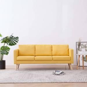 Καναπές Τριθέσιος Κίτρινος Υφασμάτινος