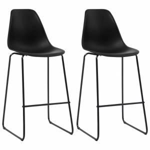 Καρέκλες Μπαρ 2 τεμ. Μαύρες Πλαστικές
