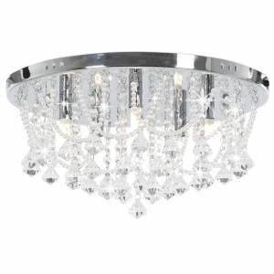 Φωτιστικό Οροφής Στρογγυλό Ασημί με Κρυσταλλινές Χάντρες 4 x G9