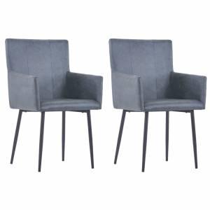 Καρέκλες Τραπεζαρίας με Μπράτσα 2 τεμ. Γκρι Συνθετικό Καστόρι