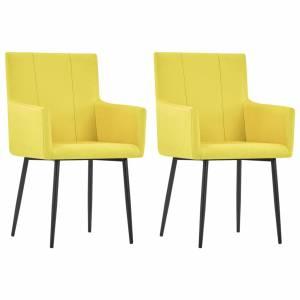 Καρέκλες Τραπεζαρίας με Μπράτσα 2 τεμ. Κίτρινες Υφασμάτινες
