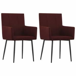 Καρέκλες Τραπεζαρίας με Μπράτσα 2 τεμ. Μπορντό Υφασμάτινες
