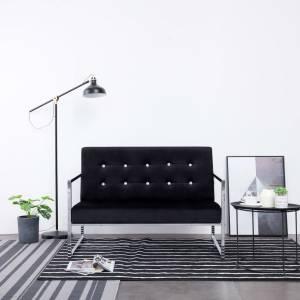 Καναπές Διθέσιος με Μπράτσα Μαύρος από Βελούδο και Χρώμιο