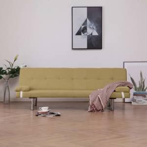 Καναπές - Κρεβάτι με Δύο Μαξιλάρια Πράσινος από Πολυεστέρα