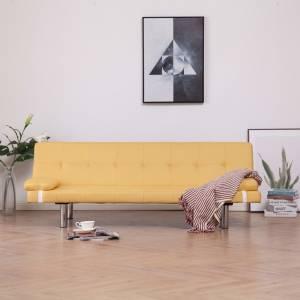 Καναπές - Κρεβάτι με Δύο Μαξιλάρια Κίτρινος από Πολυεστέρα