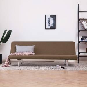 Καναπές - Κρεβάτι Καφέ από Πολυεστέρα