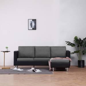 Καναπές Τριθέσιος με Μαξιλάρια Μαύρος από Συνθετικό Δέρμα